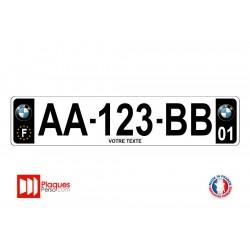 Plaque d'immatriculation BMW noire
