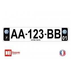 Plaque d'immatriculation Volkswagen noire
