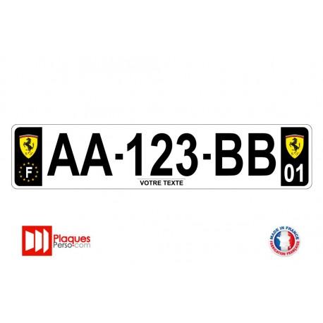 Plaque d'immatriculation Ferrari noire