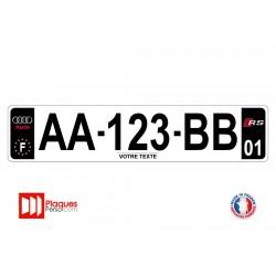 Plaque d'immatriculation Audi RS noire