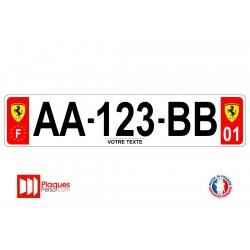 Plaque d'immatriculation Ferrari rouge