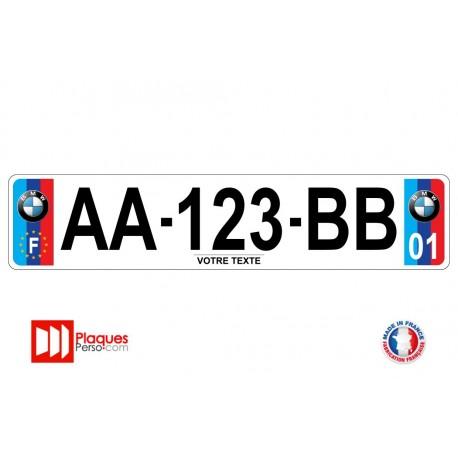 Plaque d'immatriculation BMW couleur M