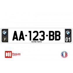 Plaque d'immatriculation BMW carbone