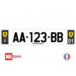 Plaque d'immatriculation Ferrari carbone