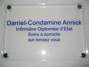 plaque infirmière transparente