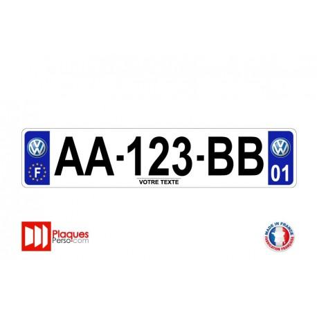 Plaque d'immatriculation Volkswagen