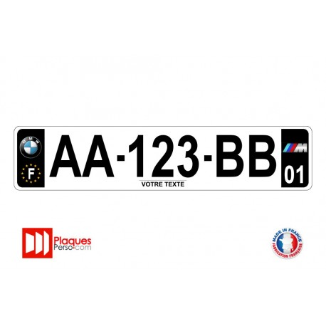 Plaque d'immatriculation BMW M noire