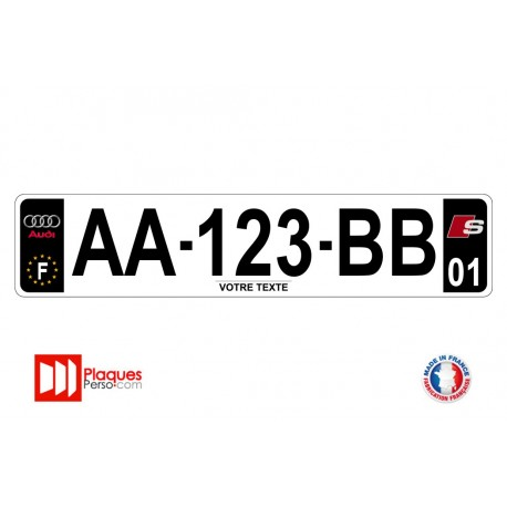 Plaque d'immatriculation Audi S line noire