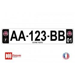 Plaque d'immatriculation Fiat noire