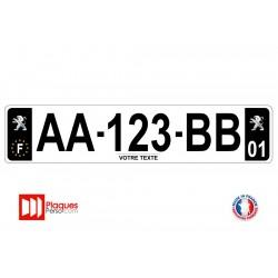 Plaque d'immatriculation Peugeot noire