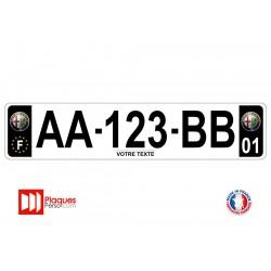 Plaque d'immatriculation Alfa Romeo noire