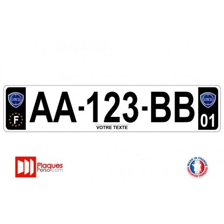 Plaque d'immatriculation Lancia noire
