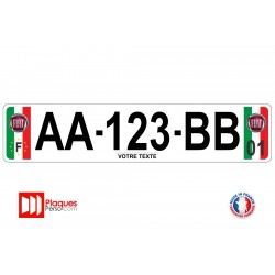 Plaque d'immatriculation Fiat couleur italie