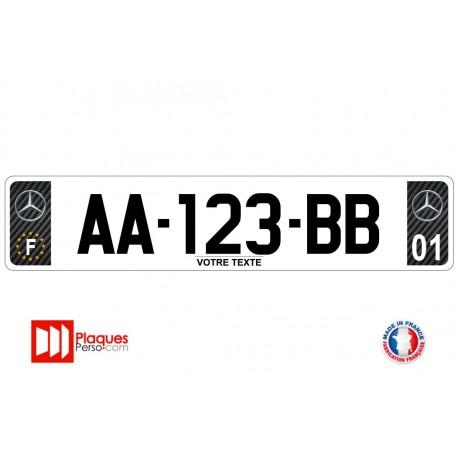 Plaque d'immatriculation Mercedes carbone