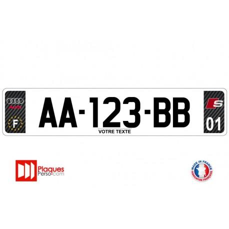 Plaque d'immatriculation Audi S line carbone