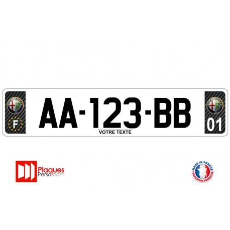 Plaque d'immatriculation Alfa Romeo carbone